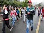 """皖西学院举行""""青春正能量 约跑月亮岛""""活动"""