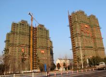 淮南大通区洞山东路安置新村工程2栋楼已封顶
