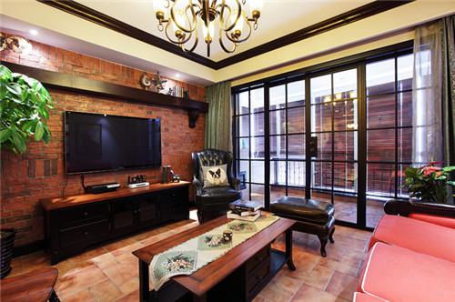 中式复古风格 家庭客厅电视背景墙装修效果图大全2015图片