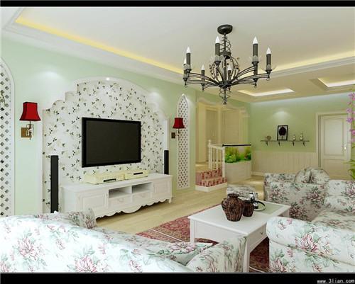 家庭客厅电视背景墙装修效果图大全2015图片