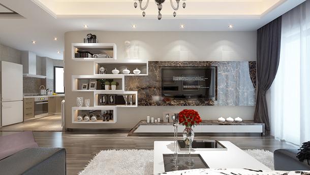 两居室现代风格客厅电视背景墙装修效果图高清图片