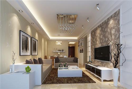 2015现代简约小户型客厅电视背景墙装修效果图