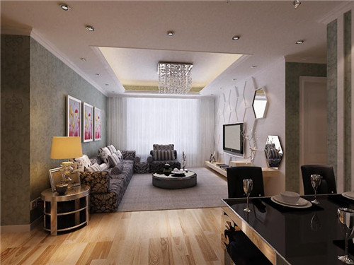 小户型现代简约客厅背景墙装修效果图2015图片高清图片