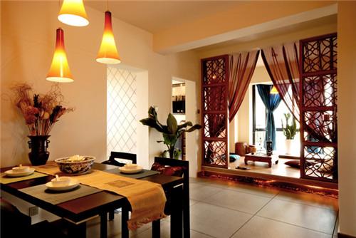 中式古典风格装修效果图2015图片大全 该方案为老房两居室,建筑面积8图片