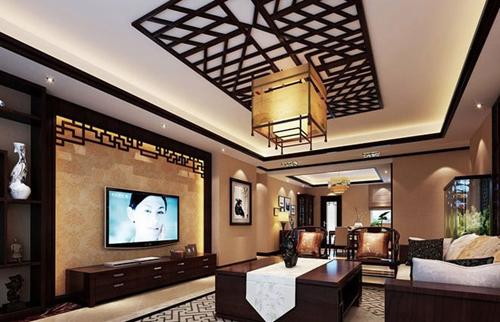 12个中式客厅电视背景墙装修效果图大全2015图片