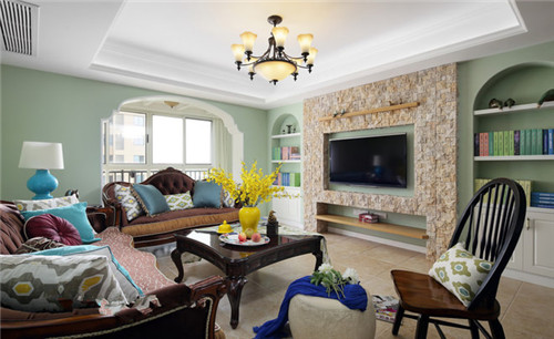 简约美式风格客厅电视墙装修效果图2015图片高清图片