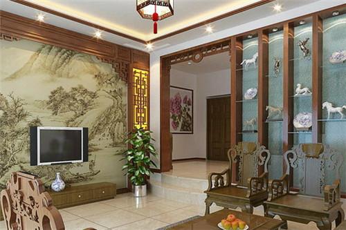 新颖新中式屏风玄关设计装修样板间 门厅玄关隔断设计图片