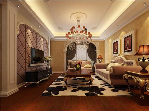 2015豪华客厅电视背景墙装修效果图,简欧式装修