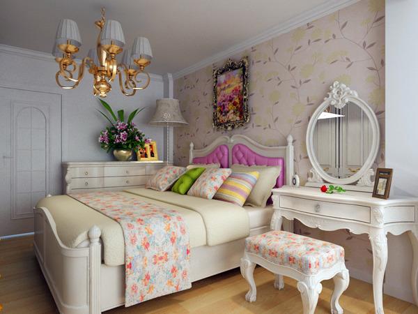 小户型两居室田园风格家庭客厅卧室背景墙装修效果图