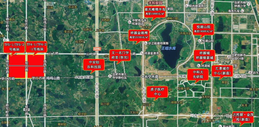 高新区tf5-1,tf5-2号地地块位置(图片来源合房网)