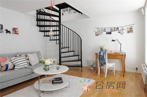 北欧迷人白色主题94平素雅复式房装修案例图片