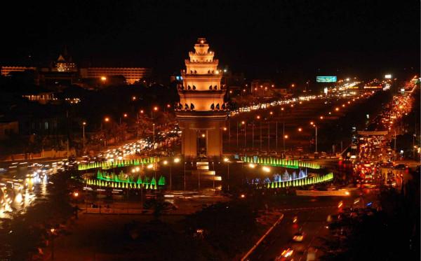 柬埔寨首都金边夜景