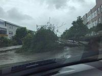 受台风及昨夜的大暴雨影响 蚌埠市区多处路面积水