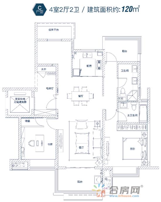 以130﹐的四室户型为例,做到了三室朝南南向大开间,采光...